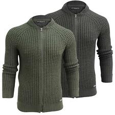 Mens Jacket Waffle Knitted Brave Soul 'Merley' Zip Up Cardigan Jumper S-XL