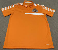 Adidas Climalite Houston Dynamo Soccer Orange MLS Men's Medium Polo Dress Shirt