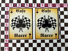 2 x Cafe Racer Ace Of Clubs Stickers - British Classic Car Oldtimer Hot Rod GT