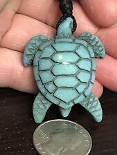 "Sea Turtle Yak Bone Turquoise Blue 18"" Adjustable Black Rope Necklace Y1"