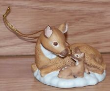 Genuine Morgan inc. 1988 Enesco Small Ceramic Mother & Baby Deer Ornament Only
