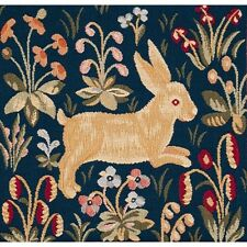 French Tapestry Decorative Throw Pillow Cushion Cover 14x14 Running Rabbit