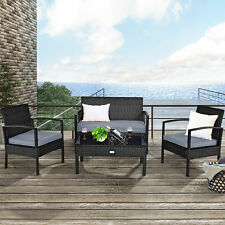 4PCS Outdoor Patio Rattan Wicker Furniture Set Cushioned Table Sofa Couch Black