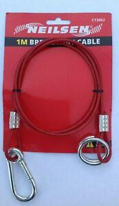 Breakaway Cable for Trailer Caravan Tow Towing Bar 1M, 2mm Diameter