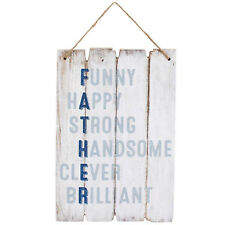 Father Wooden Wall Plaque Dad Sign Funny Happy Strong Handsome Clever Brilliant