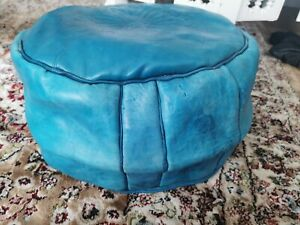 Genuine Leather Pouffe Moroccan Handmade re Turquoise Poufe Footstool Pouf