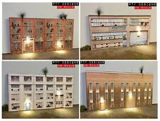 HO Scale Industrial #'s 1,2,3,4 Building Flats Lot, 3D Background w/LED, Factory