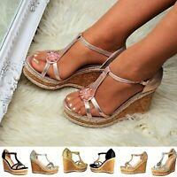 Women High Cork Wedge Heel Platform Ankle T Bar Strap Shoe Metallic Sandals Size