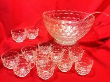 Jubilee Thumbprint Design Punch set with 12 Cups, no hooks Federal Glass