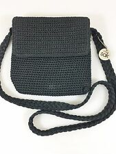 The Sak Black Small Crochet Cross-Body Shoulder Bag Handbag Purse