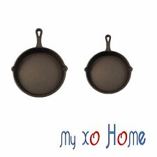 MyXOHome Round Cast Iron Frying Pan / Skillet with Handle (Set of 2) (1 Set)