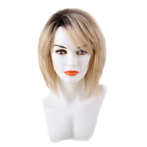 Short 100% Real Human Hair Wigs with Cap Heat Resistant Ombre Blonde