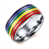 1pc Gay Lesbian Pride Pendant Ring Rainbow Flag Band Stainless Steel Ring Hot
