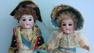 Fantastic Antique Couple of Miniature Napoleon  Josephine Mignonette Dolls12 cm