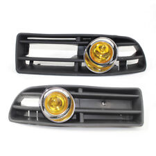 Pair of Car BUMPER GRILLE With FOG LIGHT Fit FOR VW JETTA BORA 99-04 Yellow Lens