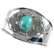 #01__TURQUOISE WIDE CUFF_BANGLE BRACELET_925 STERLING SILVER_NICKEL FREE