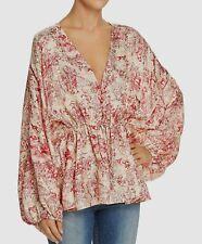 $650 Elizabeth & James Women's Pink Gold Print V-Neck Silk Blouse Top Size M