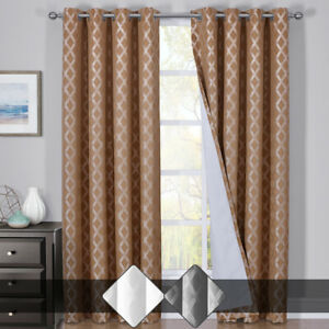 Rosaline Blackout Woven Jacquard Triple Pass Thermal Insulated Set of 2 Panels