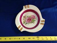 Vtg Hand Painted Beautiful Floral Porcelain Ash Tray w/ Gold Accents