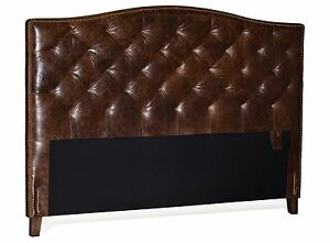Antique Brown Genuine Leather Diamond Tufted Queen Headboard w/ Brass Nailheads