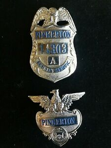 Pinkerton Security Service Badge + Matching HAT Badge Silver Excellent Lot of 2