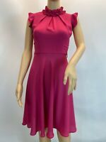 Dorothy Perkins Chic Pink Pleated Fit And Flare Ruffle High Neck Dress Size 8
