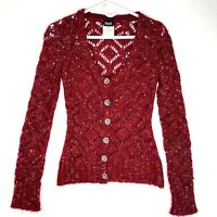 DOLCE & GABBANA D&G Sheer Knit Cardigan XS Wool Blend Rhinestone Buttons Red