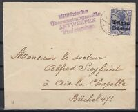 B2562/ BELGIUM GERMAN OCC – MI # 4 ON COVER