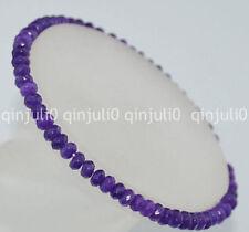 2x4mm Faceted Amethyst Roundlle Gemstones Bracelet 7.5 inch J146