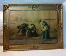 Vtg LG Gold Wood Chalk Ornate Frame Harvest Prayer Country Farm House decor