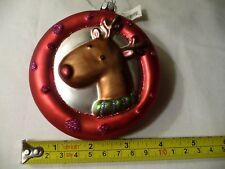 Collectible Lg. Glass Living Quarters Rudolf Ornament w Glitter~ New w Tags