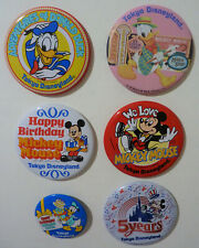 6 Tokyo Disneyland Pinback Buttons – Includes 5th Anniversary (1988)