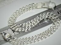 STERLING SILVER 7.5 INCH DOUBLE CURB LADIES BRACELET - SOLID 925 SILVER