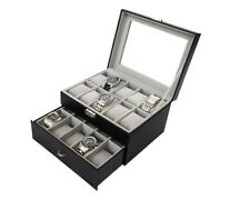 20 Slots Leather Watch Display Case Jewelry Collection Storage Organizer Box BK