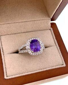 Rare Unheated Color Change Sapphire & Diamond 2.86 Carats Orianne Plat Ring GIA