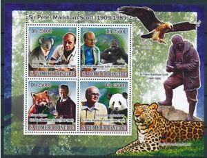 Sao Tome 2008 MNH SS, British ornithologist Peter Scott, Giant Panda, Gorilla