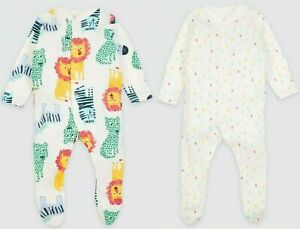 Baby M*S Sleepsuits 2 Pack Boys Girls Pure Cotton Jungle Animals Baby Grows NEW