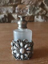 Vintage Frosted Glass Perfume Bottle. Silver Metal & Pearl Effect Detail