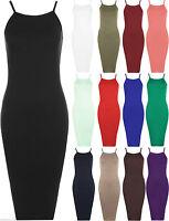 Womens Ladies Strap Cami Sleeveless Stretch Strappy Bodycon Midi Plain Dress Top