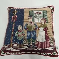 Riverdale Decorative Christmas Carolers Throw Pillow, Square 16x16 Needle Point