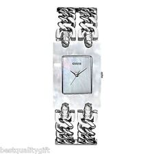 NEW-GUESS MULTI STRAND CHAIN LINK SILVER TONE BAND+MOP DIAL WATCH U0061L1