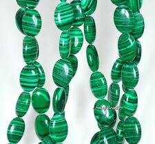 HEDGE MAZES MALACHITE GEMSTONE GREEN OVAL 14X10MM LOOSE BEADS 15.5""