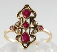 BEAUTIFUL LONG 9CT GOLD ART DECO INS RUBY & PEARL RING