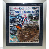 NY YANKEES OLD TIMERS SIGNED TICKET COLLAGE LARSEN MATTINGLY CONE PINIELLA SAX +