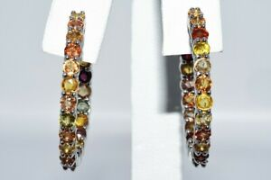 """$350 6.25CT NATURAL ROUND CUT MULTI COLOR SAPPHIRE """"IN & OUT"""" HOOP EARRINGS .925"""