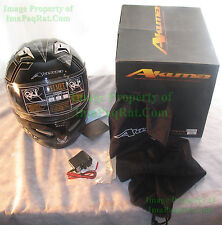 BRAND NEW AKUMA STEALTH Motorcycle Helmet 2X-Large with LED Lights! USAF XXL gb