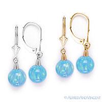 Azure Blue Fiery Opal Gem Dangling Drop Earrings in 14k 14kt Yellow / White Gold