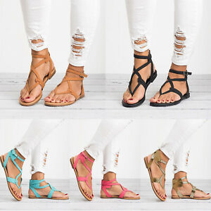 Womens Holiday Beach Shoes Flat Strappy Roman Sandals Ladies Gladiator Casual