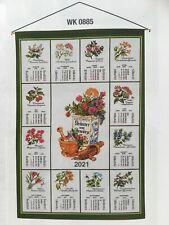 Stoffkalender,Textilkalender 2021 mit Stab und Kordel