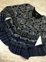 S-120~ Nic + Zoe Womens Cardigan Sweater Blue Geometric Long Sleeve Petites PS